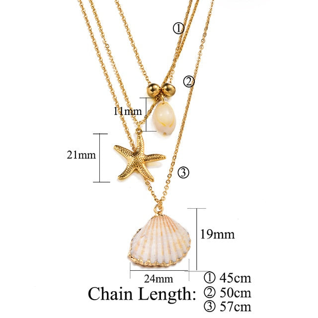 Bohemian Seashell Necklaces With Gold Plating