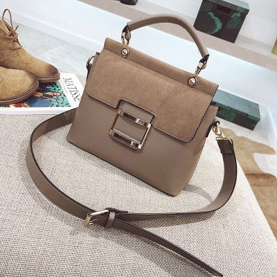 Wide Shoulder Belt Leather Handbag - 4 Colors
