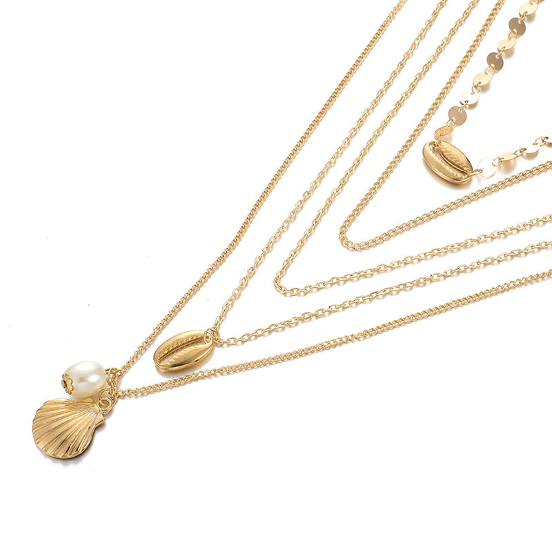 Punk Gold Seashell Pearl Necklaces