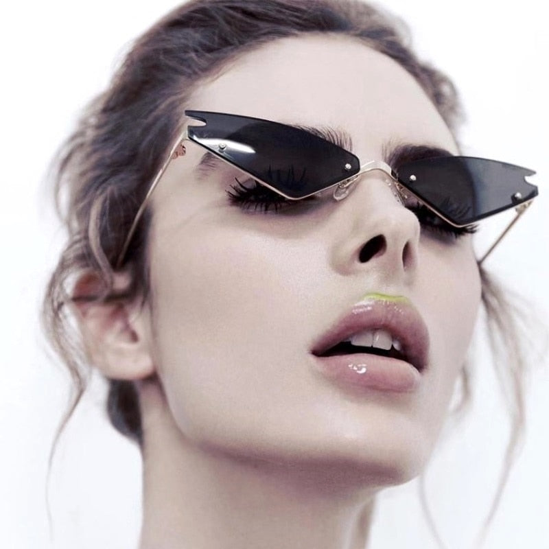 Classy Lady Statement Cat Eye Sunglasses Luxury Designer Shades