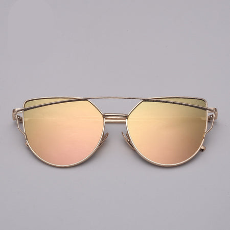 Vintage Metal Reflective Cat Eye Sunglasses