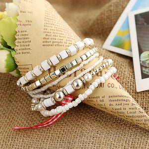 Beaded Bangles With Colorful Gem- 3-4pcs/set