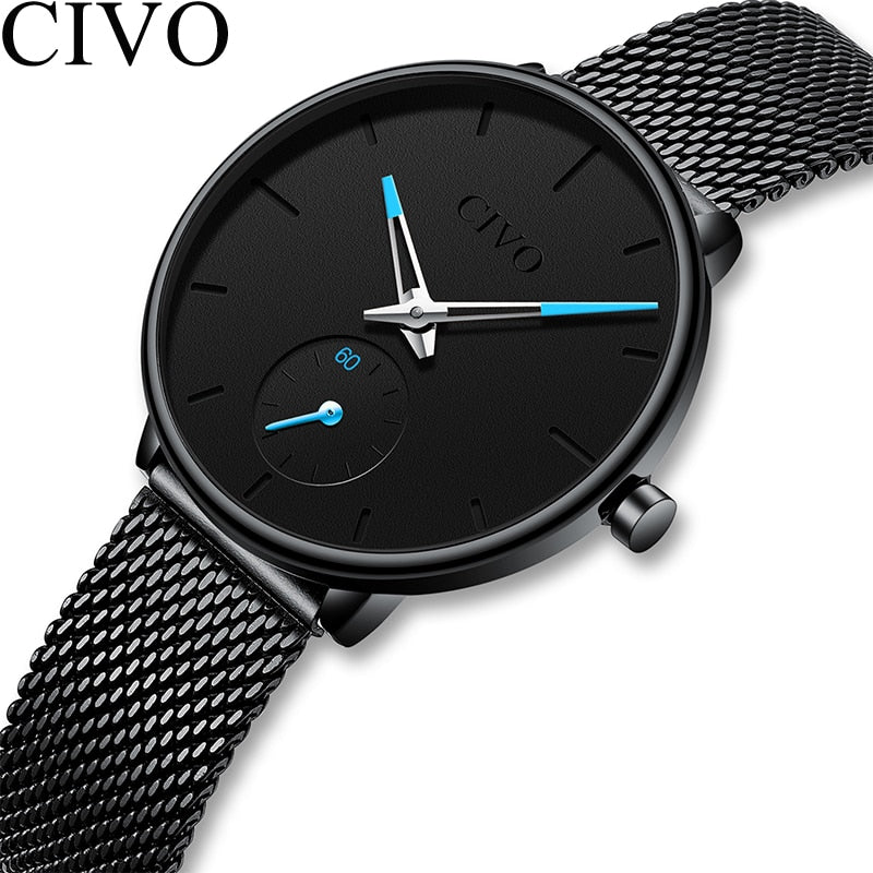 Clean Steel Mesh Quartz Wrist Watch