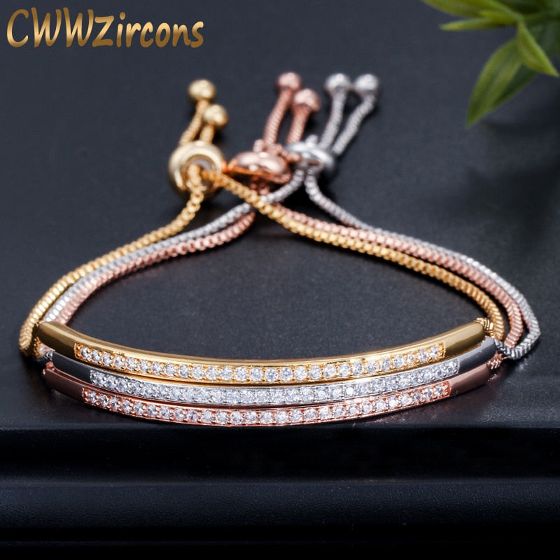 Cubic Zirconia Adjustable Bangle