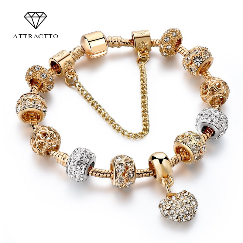 Crystal Heart Charm Gold Bracelet