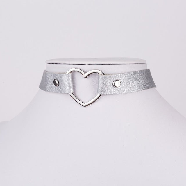Punk Gothic Leather Heart Studded Choker Necklace