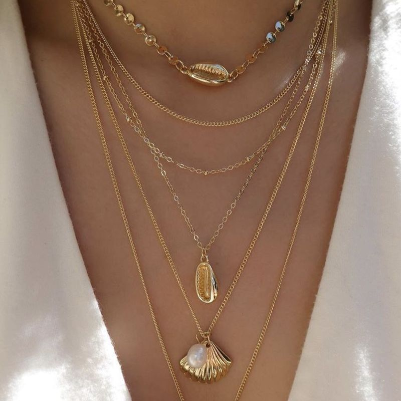 Classy Multi-Layered Gold Color Conch Shell Necklace