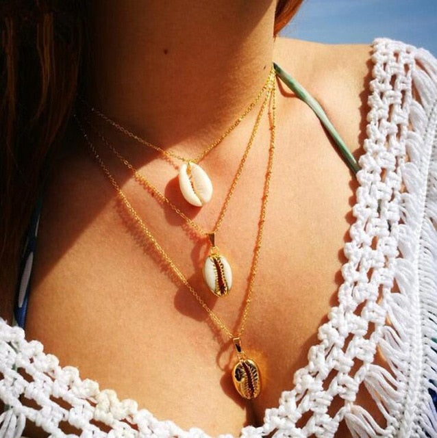 Four Layers of Shell Pendant Necklace