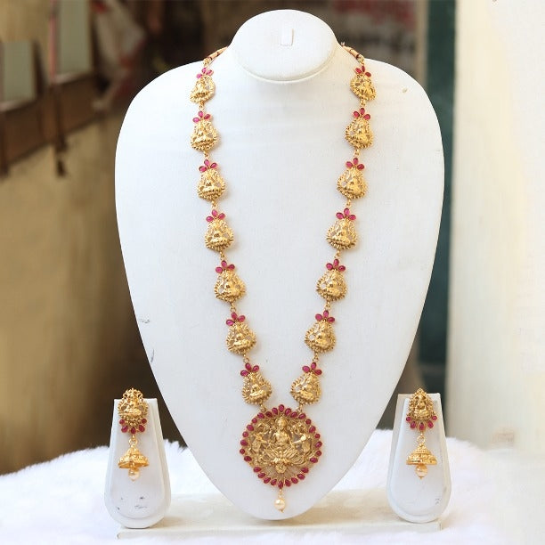 Marquise Laxmi Elephant Temple Gold Plated Necklace Set
