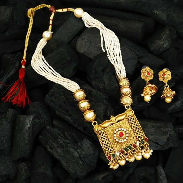 Gold Plated Pearls & Kundan Mala Necklace Set With Earring
