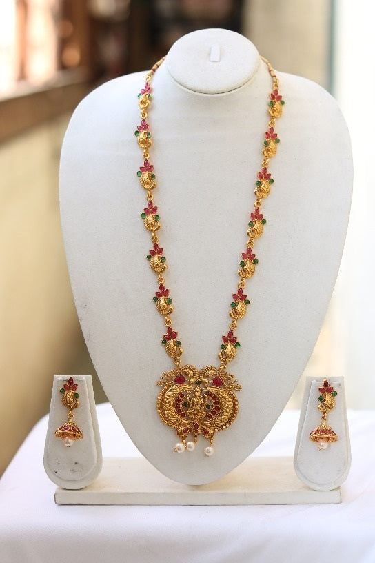 Traditional South Laxmi With Pearls work Temple Jewellery Long Necklace Set for Women