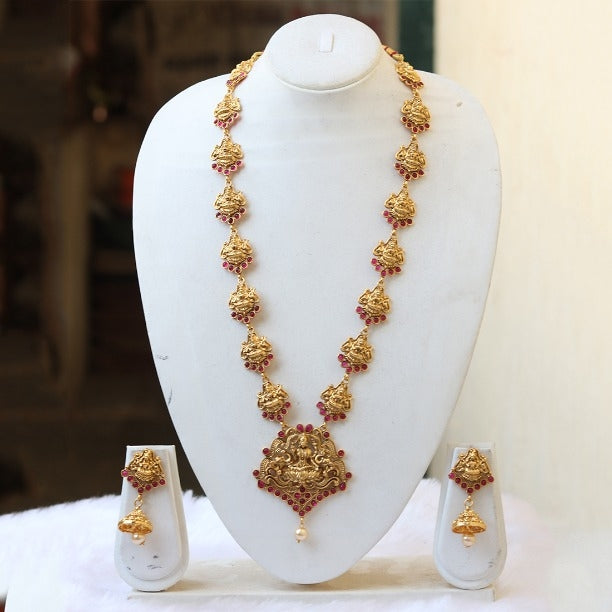 Fashionable Laxmi Peacock Gold Plated Traditional Necklace Set