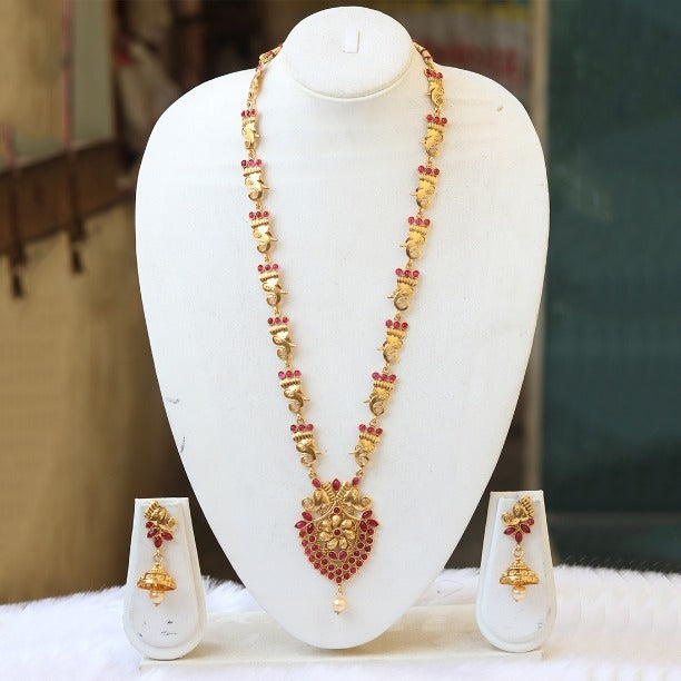 Gorgeous Gold plated Maroon Rani Haar Necklace Set for Women