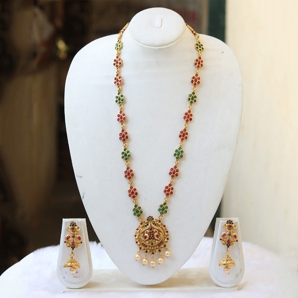 Latest Peacock With Green Maroon Bead Long Necklace for Women