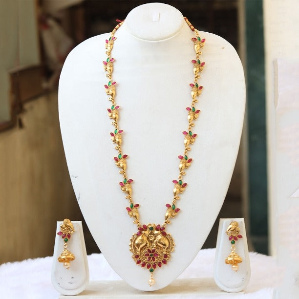 Elephant Gold Finished Green Maroon Necklace Set for Women