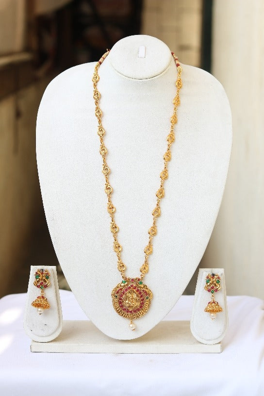 Antique flower golden laxmi Long Necklace for Women