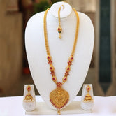LookEthnic Heart Shape Maroon Color Laxmi Design Long Necklace Set