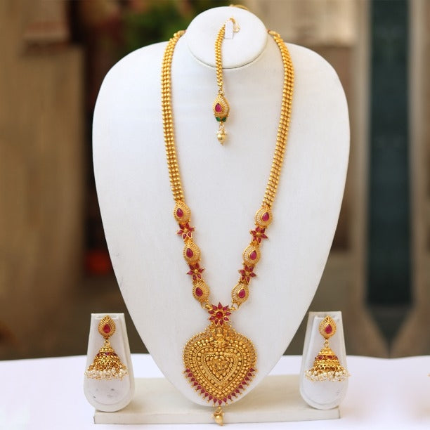 Kamp red traditional Golden Long Necklace Set