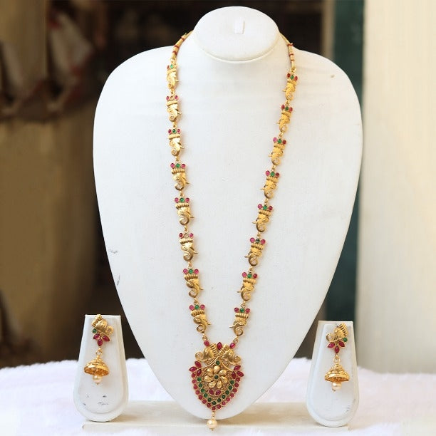 Gorgeous Gold plated Green Maroon Rani Haar Necklace Set for Women