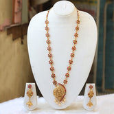 Brilliant Green maroon Temple Gold Plated Necklace Set For Women