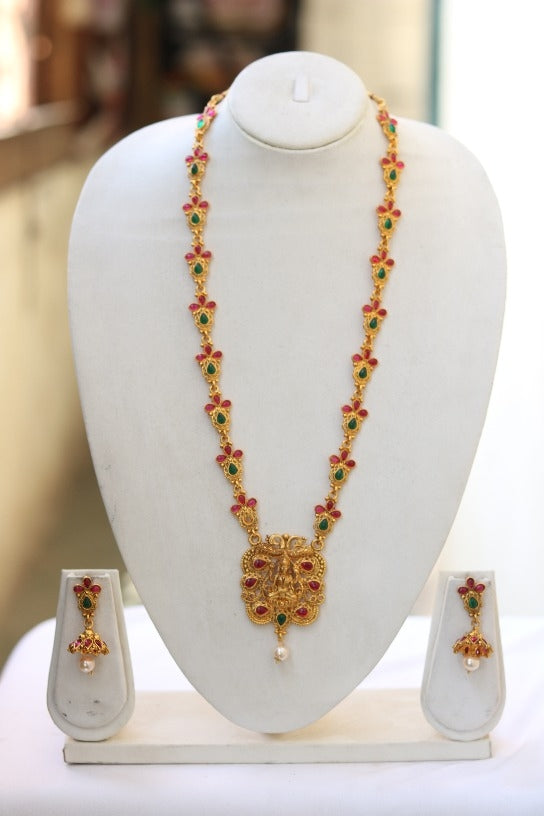Green Maroon Flower Design patta With Laxmi Long Necklace for Women