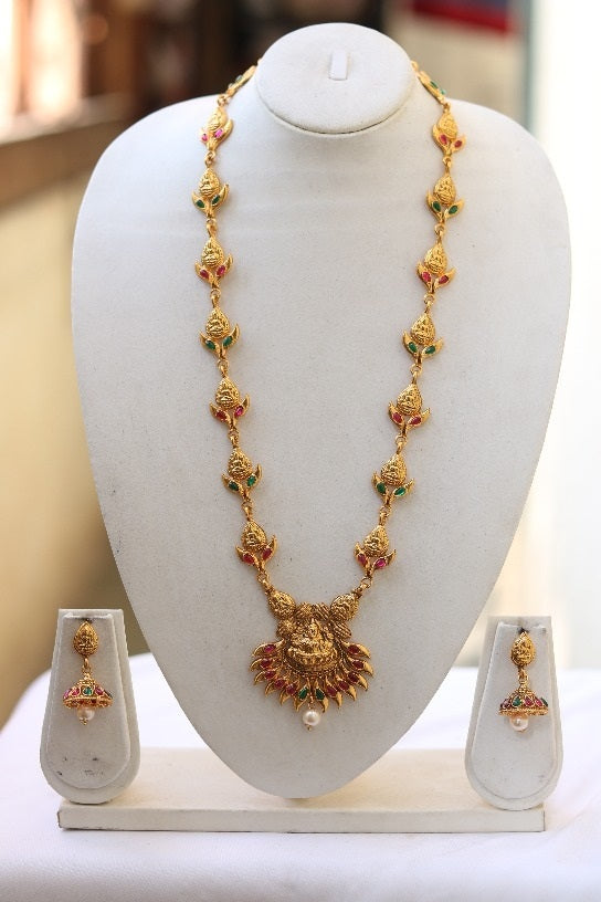 Traditional South Laxmi Temple Jewellery Long Necklace Set for Women