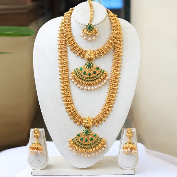 Traditional Royal Gold Plated Pearl Double Haram Necklace Set for Women and Girls