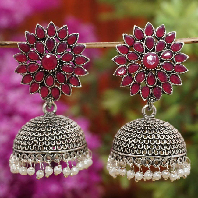 Oxide Plating Maroon Sliver Colour Jhumka Earring