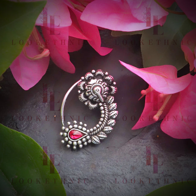 Silver Oxidized Nath For Women