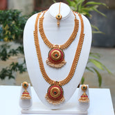 Gold plated green maroon kundan necklace set