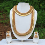 Laxmi Coin Gold Plated White kundan Haram Necklace Set