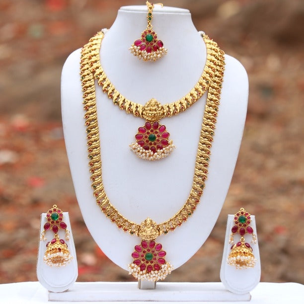 Laxmi Gold Plated Green Maroon Kundan Flower Design Haram Necklace Set