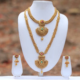 Gold plated Green Maroon Ruby Kundan Haram Necklace Set