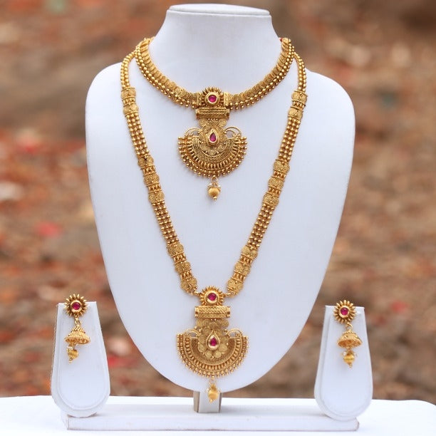Gold Plated Maroon Ruby Kundan Haram Necklace Set