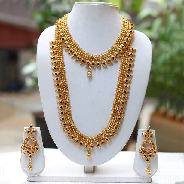 Gold Plated Black kundan Haram Necklace Set
