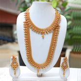 Gold Plated Green Maroon Kundan Haram Necklace Set