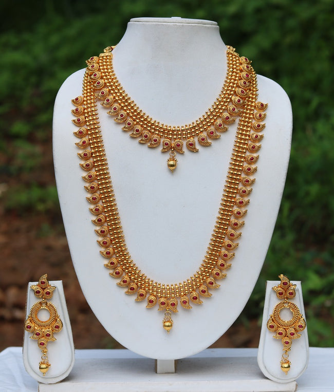 Gold Plated Maroon kundan Haram Necklace Set