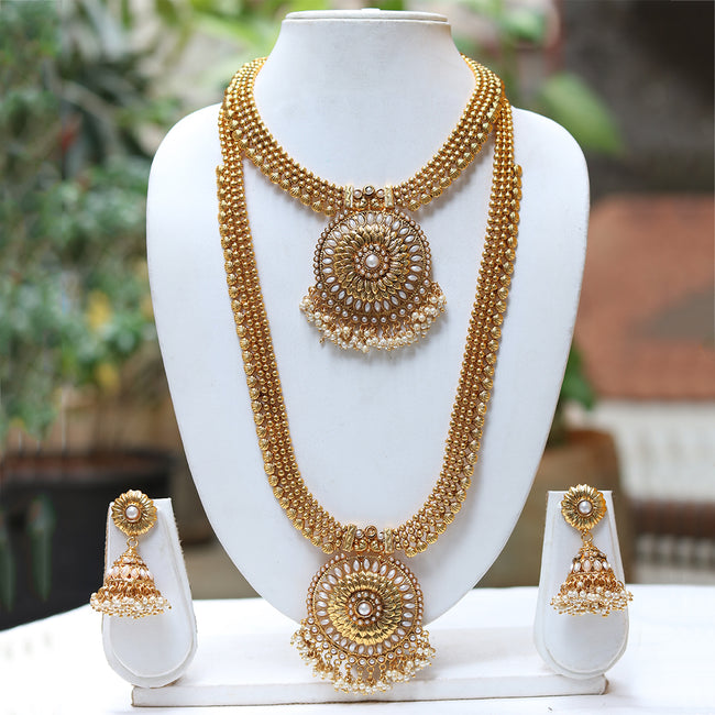 Gold Plated White Kundan Haram Necklace Set