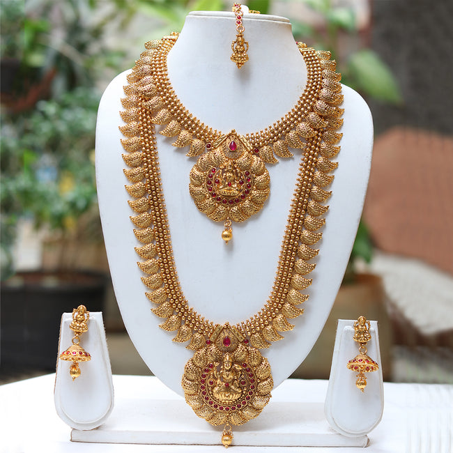 Laxmi Pedant Gold Plated Maroon Kundan Haram Necklace Set