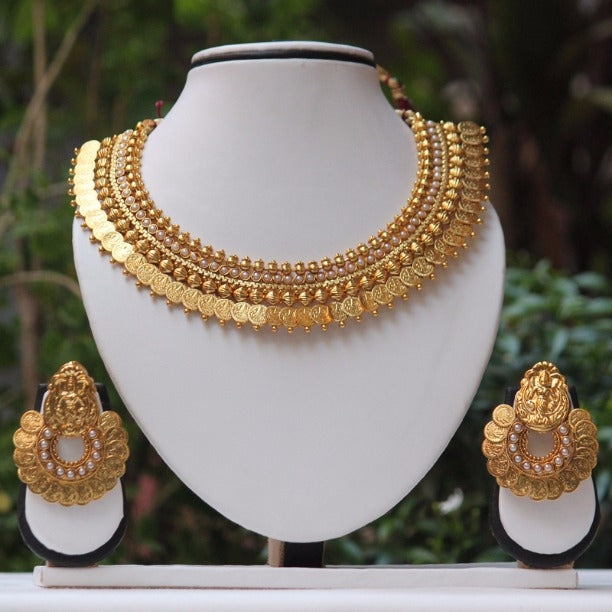 White Stone Laxmi Temple Coin Gold Necklace Set