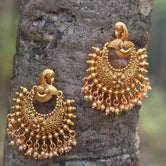 Matt Gold Plated Chandbali With Pearls Earrings