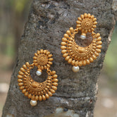 Matt Gold Plated Half Chand Shape With Pearls Earrings