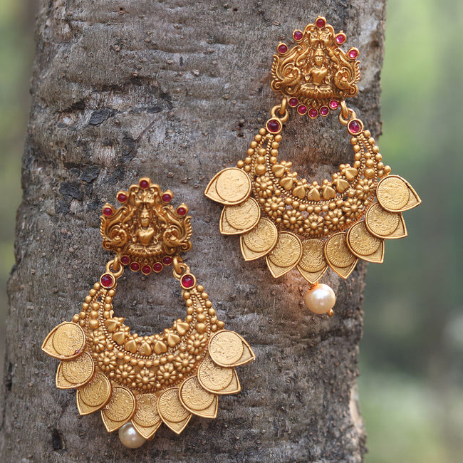 Matt Gold Plated Laxmi Coin With Pearls Earring