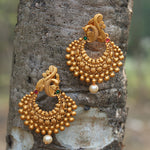 Matt Gold Plated Peacock Style With Pearls Earring