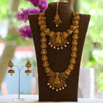 Amazing Bridal Gold Plated Laxmi Haram Wedding Necklace with Jhumki Earring Set
