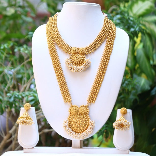 Traditional South Indian Golden Haram Necklace Set