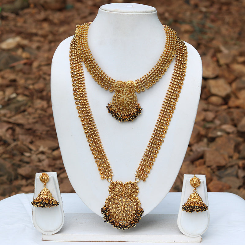 Traditional South Indian Golden Haram Necklace Set Look Ethnic