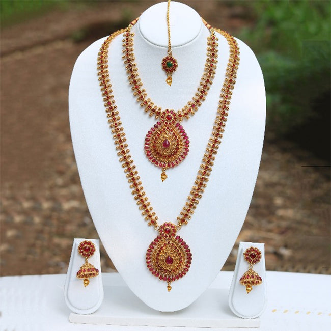 Fancy Drop Shape Maroon Color Haram Set