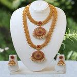 Artificial Round Shape Maroon Color Haram Set