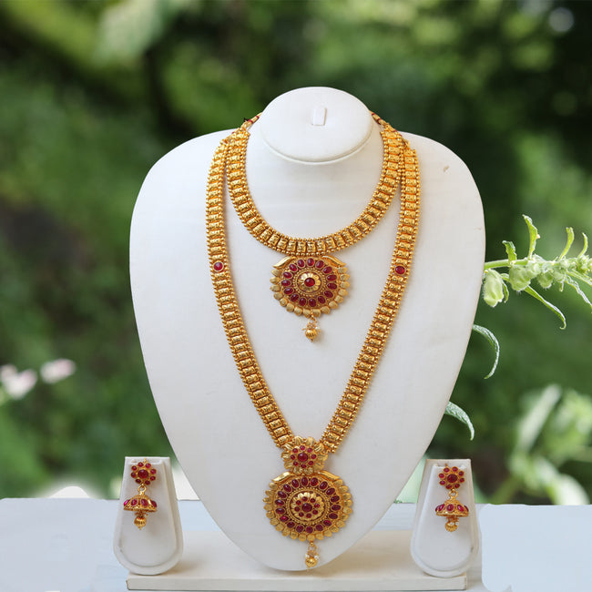 Unique Flower Design  Maroon Color Haram Set